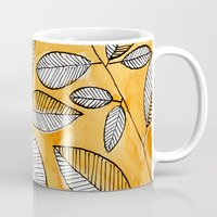 striped Mugs featuring Striped leaves by Marta Li