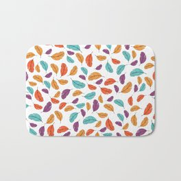 Graphic illustration of stylized and colorful birds Bath Mat