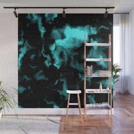Teal and Black Wall Mural