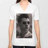alex turner V-neck T-shirts featuring Alex Turner by Tune In Apparel