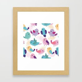 Lovely Cartoon Birds Pattern Framed Art Print