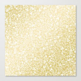 Hand painted modern faux gold white floral pattern Canvas Print