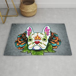 French Bulldog in White - Day of the Dead Sugar Skull Dog Rug