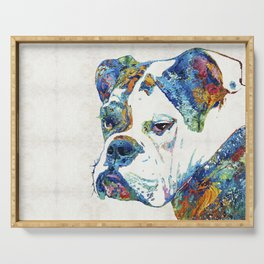 Colorful English Bulldog Art By Sharon Cummings Serving Tray