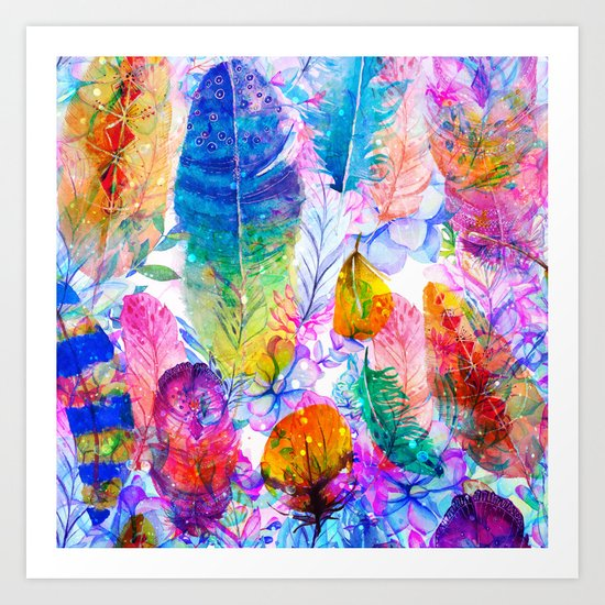 spring feathers Art Print