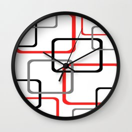 Geometric Rounded Rectangles Collage Red Wall Clock