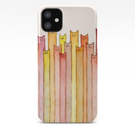 Cats Autumn Colors Pattern Whimsical Cat Orange Red Yellow Animals iPhone Case