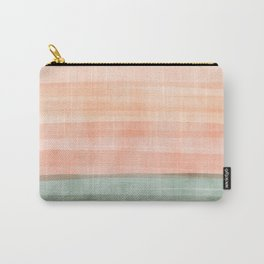 Soft Green Waves on a Peach Horizon, Abstract _watercolor color block Carry-All Pouch