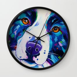Collie close up - Border Collie Artwork Wall Clock