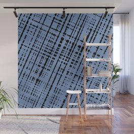 1950s Blue Abstract Lines Wall Mural