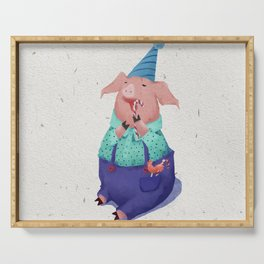 Piglet eating candy. Serving Tray