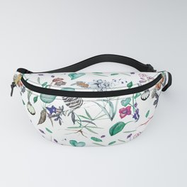 botanical illustration with herbs, vegetables, roots Fanny Pack