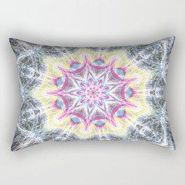 Pink and Yellow Mandala Swirl Rectangular Pillow