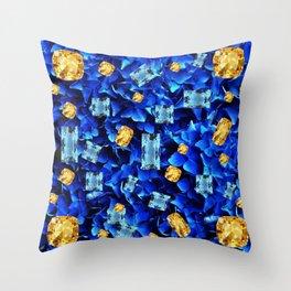 SEPTEMBER BLUE & CHAMPAGNE TOPAZ GEMS BIRTHSTONE ART Throw Pillow
