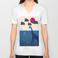 africa V-neck T-shirts featuring Africa by Mehdi Elkorchi