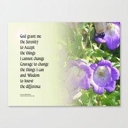 Serenity Prayer Bell Flowers Canvas Print