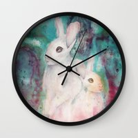 rabbits Wall Clocks featuring rabbits by Curtis Reynolds