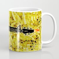 rock and roll Mugs featuring ROCK AND ROLL - 017 by Lazy Bones Studios