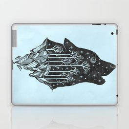 Adventure Wolf - Nature Mountains Wolves Howling Design Black on Turquoise Blue Laptop & iPad Skin