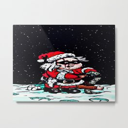 Santa Night Thief Metal Print