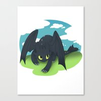 toothless Canvas Prints featuring toothless by tsurime