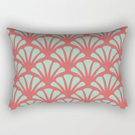 Coral and Mint Green Deco Fan Rectangular Pillow