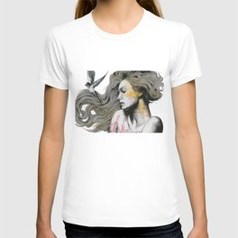 Monument (long hair girl with bird and skyline tattoo) T-shirt