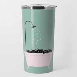 5 Little Black Kittens in Bathtub Travel Mug