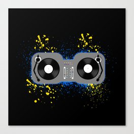 Blue and Yellow Turntables Canvas Print