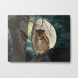 Great Horned Owl Bird Moon Tree A138 Metal Print