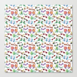 Funny insects falling in love posing for a pattern design Canvas Print