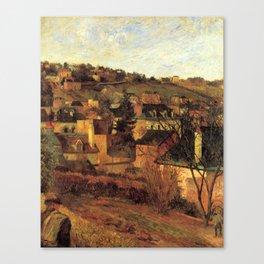 """Paul Gauguin - Blue Roofs of Rouen """"Les toits bleus, Rouen"""" (1884) Canvas Print"""