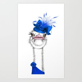 An elegant ostrich Art Print