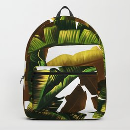 tropical banana leaves pattern gold Backpack