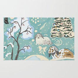 Winter Seamless Pattern with bunnies, spruce trees and berry trees Rug