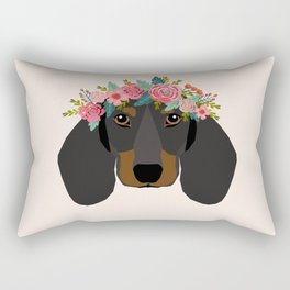 Dachshund floral crown dog breed pet art dachshunds doxie pupper gifts Rectangular Pillow