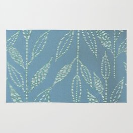 Linear Leaf Blue Rug