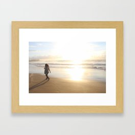 First Stepping Out onto the Beach ; Washed in White Light  Framed Art Print