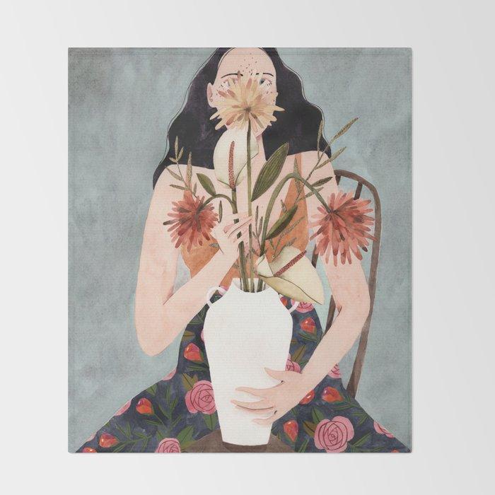 Hilda with vase Throw Blanket