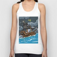 pirate ship Tank Tops featuring Pirate Ship in Stormy Ocean by Nick's Emporium