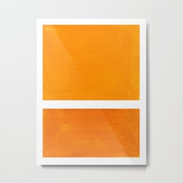 Antique Yellow  & Yellow Ochre Mid Century Modern Abstract Minimalist Rothko Color Field Squares Metal Print