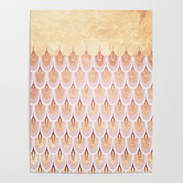 Golden Rose Gold Mermaid Scales Dreams Poster