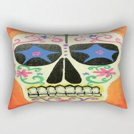 Orange Skull Rectangular Pillow