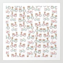 vintage pastel pink coral bicycle floral pattern Art Print