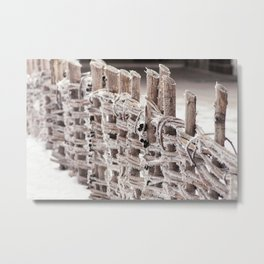 Wooden fence in a winter park of vines, Metal Print