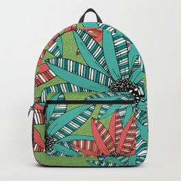 Red and Blue Striped Sketch Flowers Illustrated Pattern Backpack