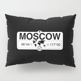 MoscowIdaho Map GPS Coordinates Artwork with Compass Pillow Sham