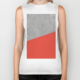 Concrete and Cherry Tomato Color Biker Tank
