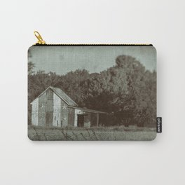 Patriotic Barn in Field Vintage Black and White Glass Plate Rural Landscape Photo Carry-All Pouch