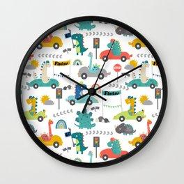 Dinosaur Race Cars Fun Pattern Wall Clock